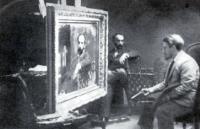 В. Серов пишет портрет И.И. Левитана.Фотография. 1893