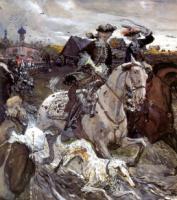 Петр II и царевна Елизовета на псовой охоте.1900