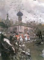 Выезд императора Петра II и цесаревны Елизаветы Петровны на охоту.1900 Фрагмент.