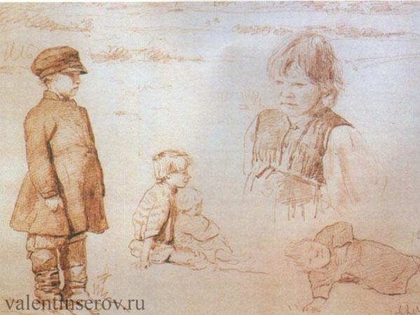Зарисовки крестьянских детей (Серов В.А.)