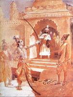 Рама разламывает лук Шивы (Раджа Рави Варма)