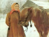 В деревне. Баба с лошадью. 1898