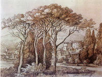 Пейзаж с пиниями (Ф.М. Матвеев, сепия, тушь, итальянский карандаш)