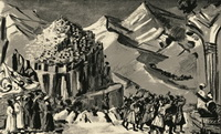 Эскиз декорации к опере А.А. Спенидарова Алмаст (М. Сарьян)