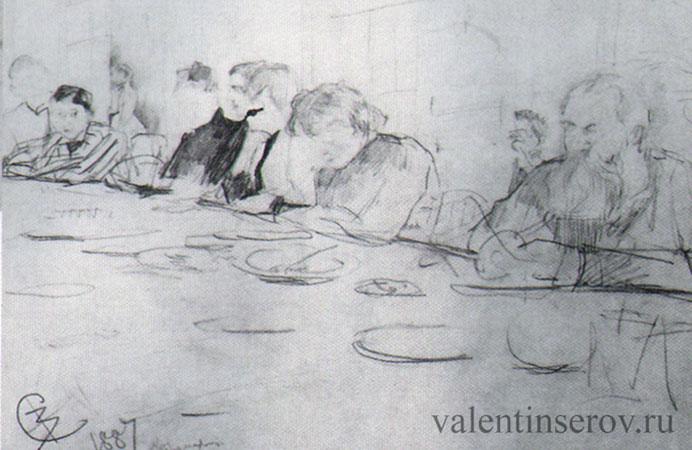 Семья Мамонтовых за обеденным столом (Серов В.А.)