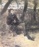 А.С. Пушкин на садовой скамейке.1899